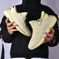 Wholesale frozen flat shoes resale online - 2019 Kanye West v2 Static Sesame Butter Semi Frozen Yellow Beluga Orange Zebra Black Red Running Shoes