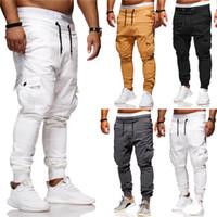 şalgam hip hop harem pantolon çocuklar toptan satış-Moda rahat pantolon erkek tasarımcı pantolon artı boyutu fit moda Çok cep Spor Joggers pamuk Spor Sweatpants Yaz erkekler ...