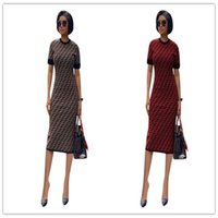 Wholesale tights sheath resale online - 2019 Designer Woman Dress Luxury Fends FF Short Sleeve Long Dress Tight Skinny Bodycon Skirt T shirt Party Dresses clubwear C6501