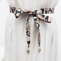 Wholesale adornment dresses resale online - New snake grain lady matchs melting bowknot belt to match dress shirt cloth waist rope adornment Pearl diamond decoration