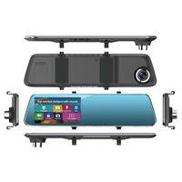 çizgi kameralar hd çift lens toptan satış-Yeni HD 4.3 1080 p Çift Lens Otomatik Kamera Dokunmatik Ekran Çizgi Kam Ön Araba DVR Dash Video Kamera Ayna Kaydedici Dikiz kamera