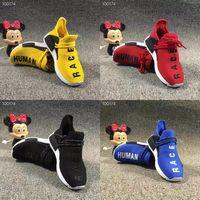 zapatos de niño regalos al por mayor-Adidas NMD Pharrell Williams Human Race Bi kids Running Shoes Pharrell Williams Muestra Yellow Core Black niños corriendo zapatos regalo de cumpleaños del bebé 9C-3Y