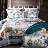 sábanas de algodón floral tamaño queen al por mayor-Ropa de cama PapaMima 4 piezas Queen King Size 100% tela de algodón egipcio Ropa de cama con estampado floral Juegos de sábanas planas Ropa de cama