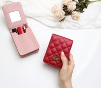 Wholesale Retro lipstick bag woman trumpet portable carry on makeup with mirror leather small fragrance storage box mini soft