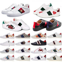 Wholesale women loafers resale online - 2020 Ace Embroidery Small Bee Casual Flat Shoes Men Women Low Cut White Black Sneakers Loafers Fashion Unisex Zapatos Animal Walking Shoes