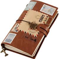 cuaderno diario diy al por mayor-Cuaderno del viajero Diario de la vendimia Bloc de notas retro Papel Kraft Papelería linda Cubierta de cuero de PU Negro DIY Diario de viaje