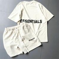 marcelo burlon toptan satış-T Gömlek erkekler Kadınlar Yeni Koleksiyon Essentials Yaz Kısa Kollu Tee Şort eşofman Suits
