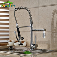 wasserhahn ziehen großhandel-Chrom Küche Einhand Ein Loch Wasserhahn Deck Montage Waschbecken Mischbatterie Pull Down Spray
