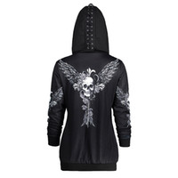 zipper hoodies skulls venda por atacado-Crânios de Asa Impressão Womens Zipper Cardigan Casacos Hoodies Sportswear Casuais Com Capuz Moletons Mulher Tops Soltos Hoodies