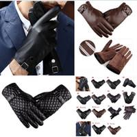 lederhandschuhe großhandel-Herren-Fahrhandschuhe Winter PU-Leder Touchscreen Warme, weiche, dicke Fleecefutter Winddicht Wasserabweisende Biking-Outdoor-Handschuhe 15styles