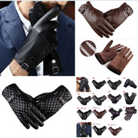 Wholesale winter leather driving gloves men for sale - Group buy Mens Driving Gloves Winter PU Leather Touchscreen Warm Soft Thick Fleece Lining Windproof Water resistant Biking Outdoor Gloves styles