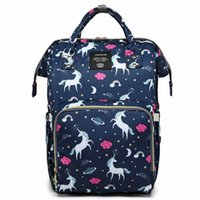 Wholesale plain diapers resale online - Unicorn Mummy Maternity Diaper Backpack Bags Baby Nappy Diaper Bag Travel Backpack Large Capacity Outdoor Bags