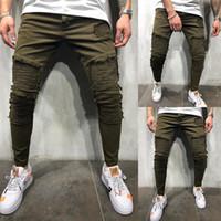fondos de mezclilla coreana al por mayor-OLOME hombres vaqueros del agujero de la vendimia 2019 Otoño Nueva verde Slim Fit Denim Jeans Hombre de Corea del estiramiento de la manera raya Bottoms Plus