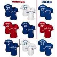 69054cc4e Custom Toronto women & kids youth knit Jersey Blue Jays 27 Vladimir  Guerrero Jr. 20 Josh Donaldson 42 Jackie Robinson Baseball Jerseys