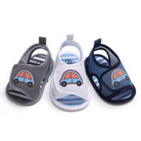 baby schuhmuster sandalen großhandel-Nettes Auto gedruckt Baby Tuch Sandalen Silikon Sohle Anti-Rutsch-Sommer Schuhe 3 Farben für 0-1 T Jungen Fahrzeug Muster Schuhe