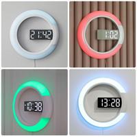 große abziehbilder spiegel großhandel-12 zoll Kreative LED Spiegel Hohl Wanduhr Fernbedienung Digital Mit Alarm Temperatur Dimmen Ring Licht 7 Farbwechsel