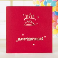 фантастическая бумага оптовых-Happy Birthday Card 3D Greeting Card Fantastic Handmade Paper Happy Birthday Anniversary Greeting Cards Gifts