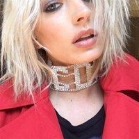 frauen choker halsbänder großhandel-Neueste luxus halskette hip hop frauen flut marke temperament wilden halskette voller diamant brief schlüsselbein designer kragen heißer