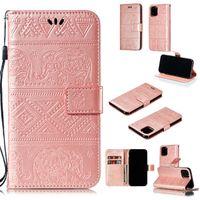 bandoulière note achat en gros de-Étui portefeuille en cuir d'éléphant pour NEW Iphone 2019 5.8 6.1 6.5 pouces Samsung Galaxy NOTE 10 PRO Stand Strap Card Strap Skin Cover Fashion 100 PCS