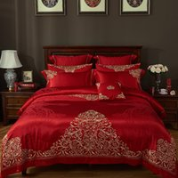 Wholesale pillows blue chinese print for sale - Group buy Chinese Red Wedding Bedding set Queen King size Golden Embroidery Luxury Satin Cotton Duvet cover Bed spread sheet set Pillow