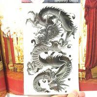 drachen tattoos aufkleber großhandel-Shnapign schwarzer chinesischer Drache temporäre Tätowierungs-Körperkunst, 12 * 20cm grelle Tätowierungs-Aufkleber, wasserdichter gefälschter Tätowierungs-Henna-Wandaufkleber T190711