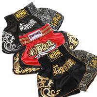 ingrosso tronchi di combattimento-Pantaloncini da boxe MMA di alta qualità da uomo caldi Muay Thai Combattimenti di allenamento Pantaloncini da kickboxing Arti marziali Boxe Tronchi traspiranti
