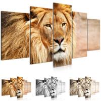 peyzaj yağlı boya tabloları toptan satış-5 Panel Yağlıboya Hayvan Aslan Sanat Tuval Wall Art Aslan Kral Resim Manzara Modern Oturma Odası Dekoratif Hiçbir Çerçeve