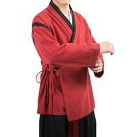 ingrosso giacca di vestito di kimono-Giacca da uomo stile cinese Streetwear Kimono Jacket Mens Kung Fu uomo Lino cappotti Giacche Maschile Tang Suit Hanfu Hommes 4XL