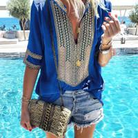 artı bohem giyim toptan satış-Moda Bluz Gömlek Kadınlar Bohemian Womens Tops Ve Bluzlar Casual V Yaka Üst Tee Elbise Yaz Üst Bayanlar Üstleri Artı Boyutu 5XL