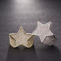 anillo de balanceo al por mayor-Hombres Estrella Anillo 18 K Cobre Encanto Oro Plata Color Completo Circón Moda Hip Hop Rock Joyería