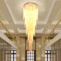 araña de capa al por mayor-2019 DHL Nuevo diseño largo y moderno de cristal araña de luz LED 5 capas lujosas lámparas de vestíbulo del hotel