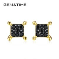 серьги времени драгоценные оптовых-Gem&Time  Square Black Spinel Stud Earrings for Women Pure 14k Yellow Gold Jewelry Brincos De Ouro Pur Au585 Gifts E14088