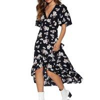 elbise seksi v toptan satış-Şifon Yaz Elbise Seksi V Boyun Kısa Kollu Plaj Elbise Çiçek Baskı Artı Boyutu Akşam Parti Kemer Sundress Robe Femme