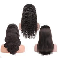 Wholesale kinky straight hair for online - Deep Wave Lace Front Wigs and Lace Human Hair Wigs Pre Plucked For Black Women Straight Body Wave Kinky Curly Virgin Brazilian Hair