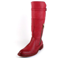 alto botas de invierno de rodilla hombres al por mayor-British Trend Red Knee High Boots hombres punta redonda vaquero de cuero Martin Botas largas Hombre Botas de montar Zapatos de moto de invierno