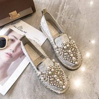 мокасины для женщин оптовых-Espadrilles Brand Designer Pearl Spring Women Shoes Fisherman Shoes Canvas Slip-on Casual Comfortable Casual woman Flats Loafers