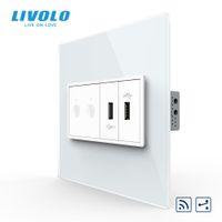 ingrosso telecomando livolo-Livolo US / AU standard, 2 Gang 2 Way Remote Control Switch + 2 Gang Socket USB, 2 posti e telecomando