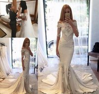 Wholesale couture bride dress resale online - Steven Khalil Berta Pallas Couture Sexy Off Shoulder Mermaid Wedding Dresses Short Sleeves Arabic Bride Gowns robe marriage