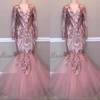Wholesale long gold occasion dresses for sale - 2019 New V Neck Prom Dresses Appliques Lace Zipper Back Mermaid Formal Occasion Evening Party Gowns Custom Made