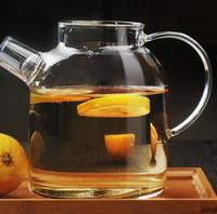 glasabdeckung für blume großhandel-Glas Wasserkocher Wasserkanne Hitzebeständige Blumenteekannen mit Deckel Deckel Klar Saftbehälter Teesaft Wasserkanne KKA7403