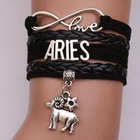 ingrosso braccialetti infiniti diy-12 Zodiac Sign charm Love Infinity bracciali per donne uomini oroscopo lettera intrecciata in pelle corda dell'involucro del braccialetto gioielli fai da te di moda