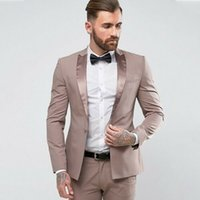 Wholesale blue tuxedos piece resale online - Handsome Men s Wedding Tuxedos Slim Fit One Button Shawl Lapel Groom Wear Formal Dinner Prom Party Blazer Suits Jacket Pants