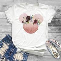 kadınlar için sevimli tee gömlek toptan satış-Kawaii Kadın T-Shirt Kulak Gömlek Kız Kadın Tumblr Camisas Mujer Hipster T Gömlek Kadınlar Sevimli Tatil Tee Gömlek Femme