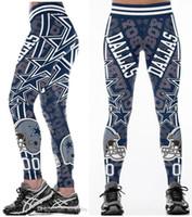 женщины широкие ножки йоги брюки оптовых-Новые оптовые Горячие Многоцветные Женщины Леггинсы Dallas Cowboys напечатаны высокой талией широкий пояс работает фитнес колготки йога брюки S-4XL