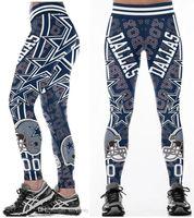 ingrosso pantaloni a gamba larga-Nuovo commercio all'ingrosso caldo multicolore donne legging Dallas Cowboys stampato a vita alta cintura larga da corsa collant fitness pantaloni yoga S-4XL