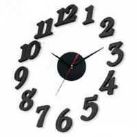 números de reloj de cuarzo al por mayor-Diy Negro Blanco Mute Reloj de Pared Número Cuarzo Digital Hotel Salón Dormitorio Decorar Relojes de Pared Creativos 15nsD1