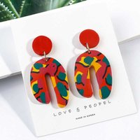 Wholesale clay earrings designs resale online - AENSOA Colorful Handmade Polymer Clay Statement Earrings Irregular Drop Dangle Earring For Women Unique Design Jewelry Brincos