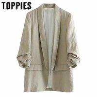 vestes en lin pour femmes achat en gros de-Loisirs Linge Veste de costume Bureau Lady Petit Costume Solide Couleur Manteau en vrac Gilet Veste mince femmes 2019MX190930