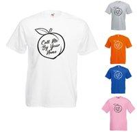 pfirsich weiß anzüge großhandel-Rufen Sie mich bei Ihrem Namen Peach Scene Printed T-Shirt an