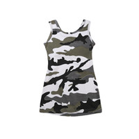 ingrosso abiti casual mini camouflage-1-6Y Toddler Kids Neonate Summer Cotton senza maniche Camouflage Mini Dress Sundress Party Casual Backless Abiti Outfits NUOVO